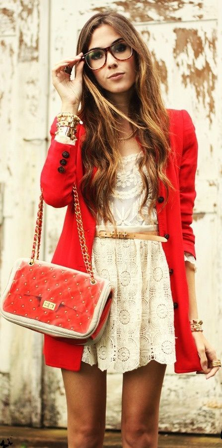 Try pairing a red coat with a nude lace skater skirt for an effortless kind of elegance.  Shop this look for $83:  http://lookastic.com/women/looks/bracelet-coat-crossbody-bag-belt-long-sleeve-t-shirt-skater-skirt/7697  — Gold Bracelet  — Red Coat  — Red Quilted Leather Crossbody Bag  — Tan Leather Belt  — Beige Lace Long Sleeve T-shirt  — Beige Lace Skater Skirt