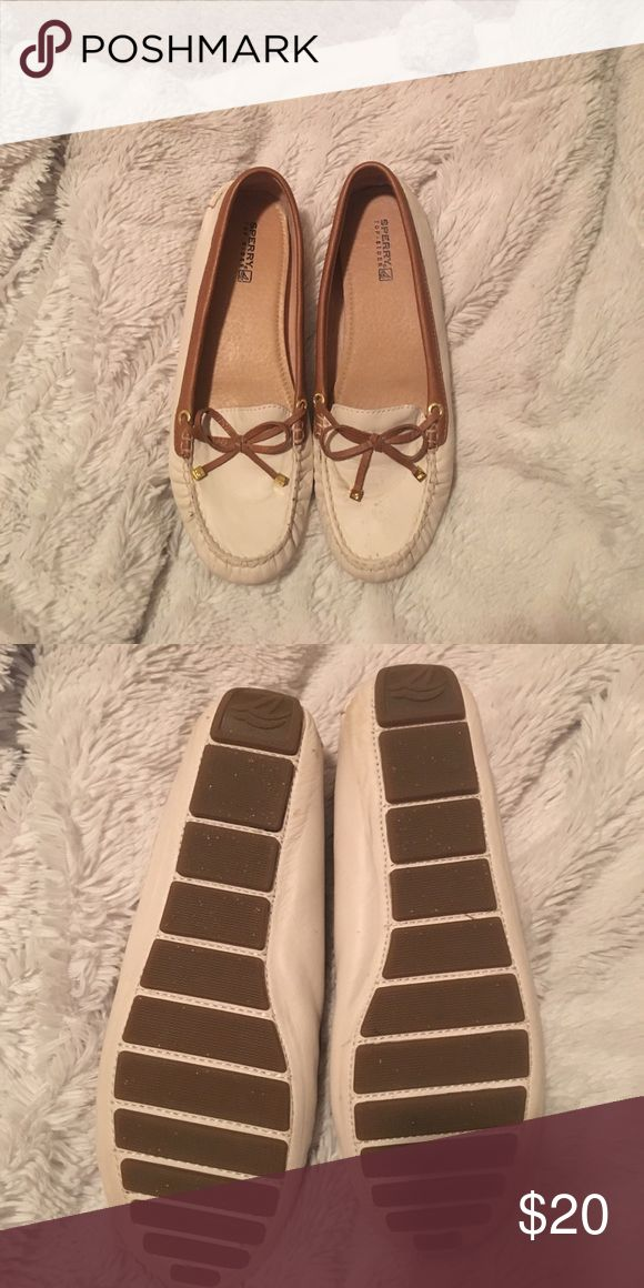 White leather Sperry loafers White leather Sperry loafers with tan trim Sperry Top-Sider Shoes Flats & Loafers