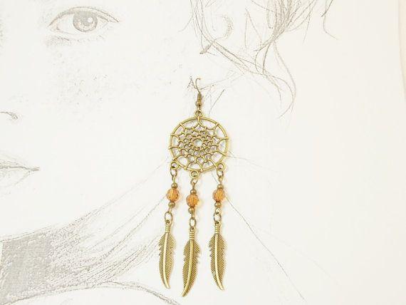 Bronze feather dreamcather jewelry tribal by 10dollarjewellery