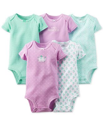 Carter's Baby Girls' 5-Pack Bodysuits - Kids Baby Girl (0-24 months) - Macy's