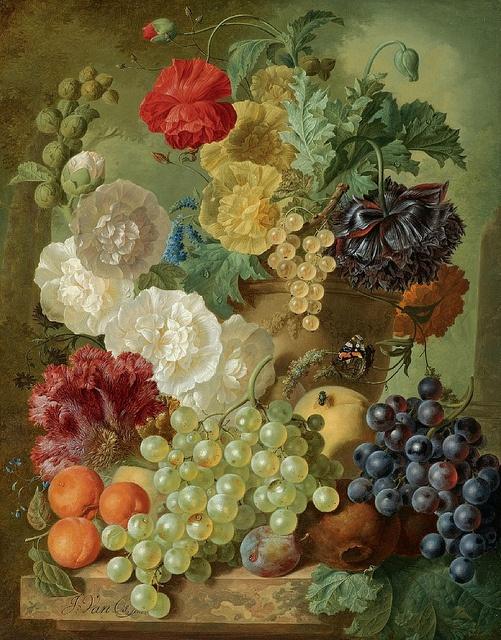 Jan Van Os (1744-1808) - Nature morte avec des fleurs et des fruits