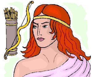 dit is de god artemis, godin van de jacht en van de maan
