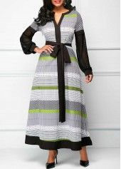 wholesale Belted Split Neck Long Sleeve Maxi Dress