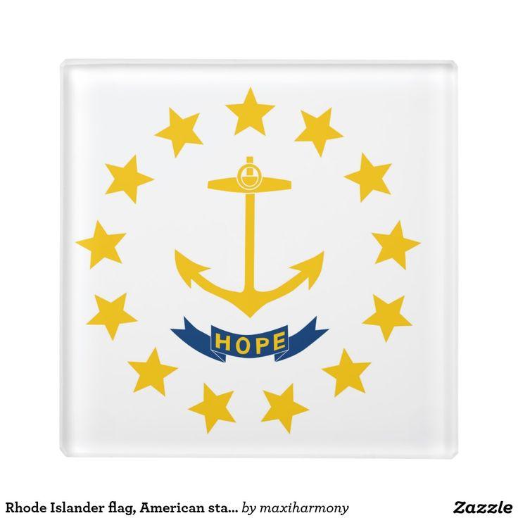 Rhode Islander flag, American state flag Glass Coaster