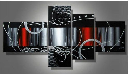 Amazon.com - 100% Hand-painted Wood Framed Red Back Clouds Home Decoration Modern Abstract Oil Painting on Canvas 4pcs/set Mixorde - Modern Canvas Wall Art