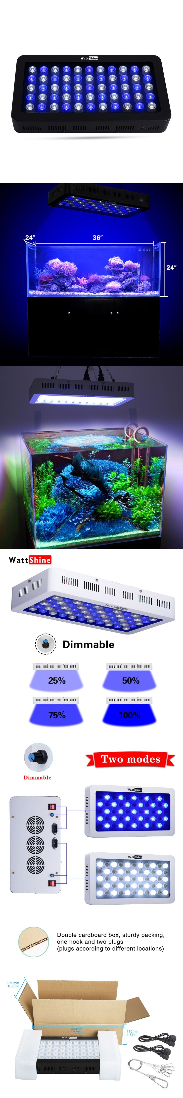 Hot sale dimmable 165w Waterproof LED aquarium light for freshwater saltwater plant Blue White leds for coral reef fish tank