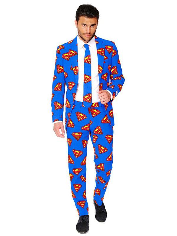 Opposuit Superman - Blå supermann dress