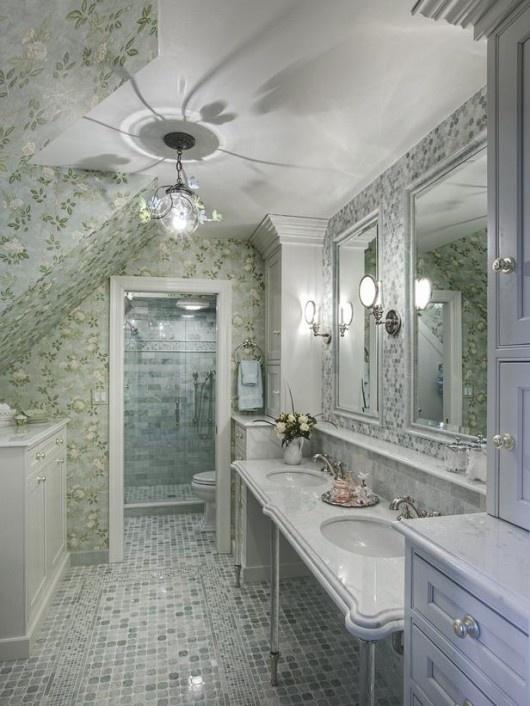 Romantic  bathroom: Design Inspiration, Bathroom Design, Vintage Bathroom, Romantic Bathroom, Druri Design, Beautiful Bathroom, Amazing Bathroom, Design Home, Blue Bathroom