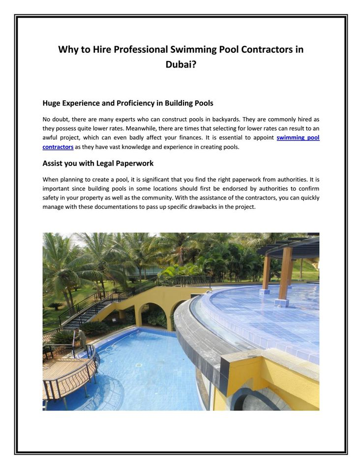 Why to hire professional swimming pool contractors in dubai