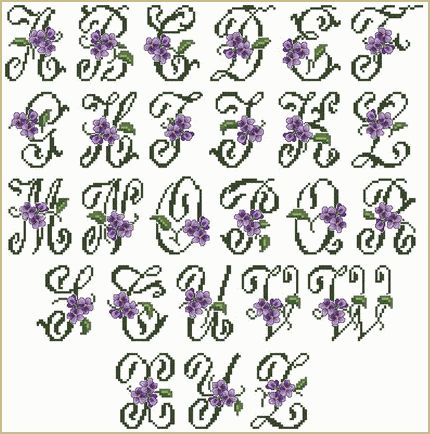 Violets Alphabet in Cross Stitch (large letters) #monogram #monograms #cross-stitch (link is reported to be spam, look-up separately!)