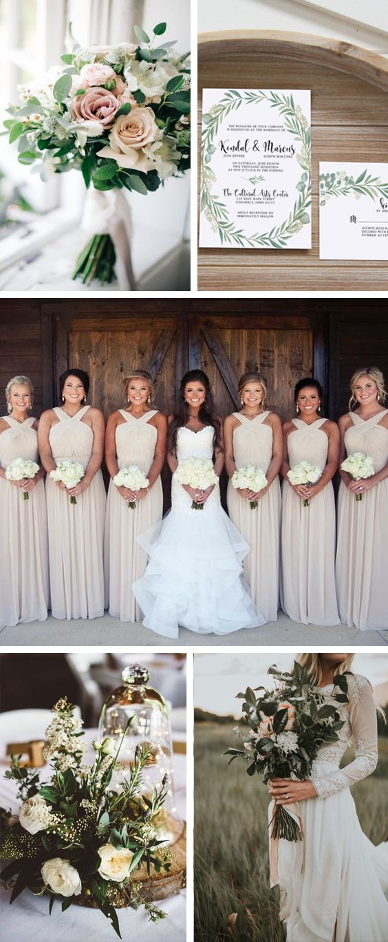 Neutral wedding colors. Greenery wedding with eucalyptus leaves wedding invitation. Beige bridesmaids dresses. Magical first look photos. Blush and nude wedding palette. Greenery and natural wedding