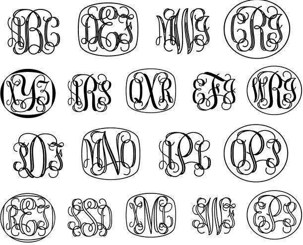 """Vine Monograms - This design was inspired by letters made for machine """"pantograph"""" engraving. A series of 6 fonts that can be used to create original 3-letter monograms with or without decorative frames. A classic monogram style!"""