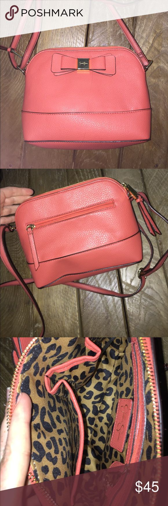 Jessica Simpson Coral bow Cross Body Perfect condition Jessica Simpson Bags Crossbody Bags