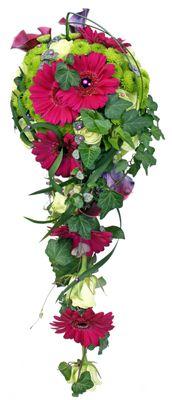 Brudbukett Bridal flowers. Germini Caprice, lila callor, grön santini och ros F-green http://holmsundsblommor.blogspot.se/2012/09/en-riktig-karamell.html 120909