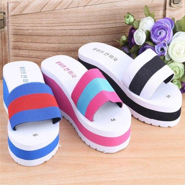 New Summer slippers Women Shoes Striped Platform High Heels Slippers Cheap Women Leopard Flip Flops Shoes