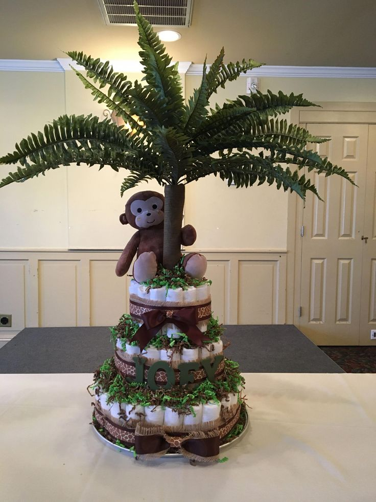 Baby shower jungle theme diaper cake #diapercakede…
