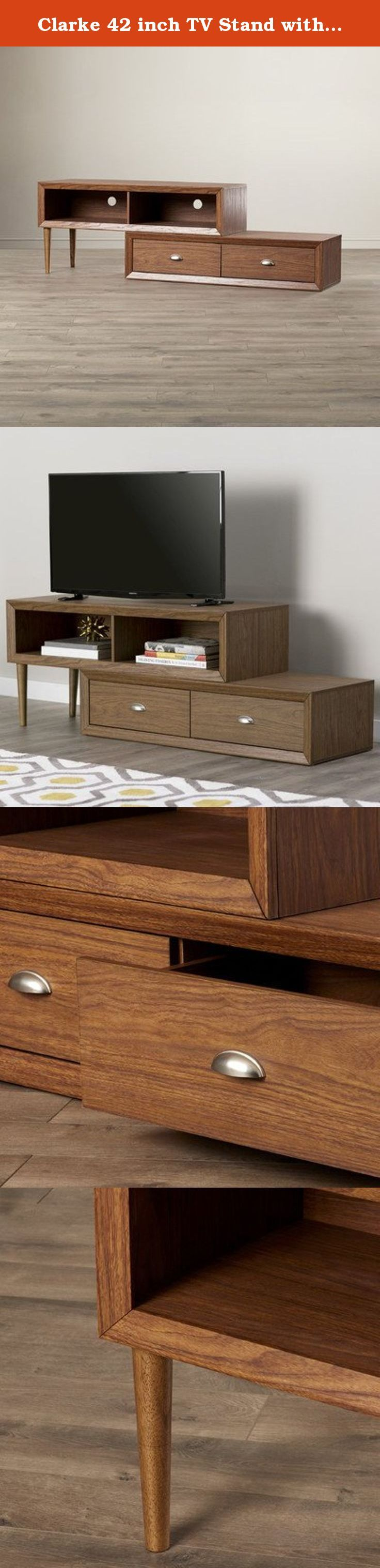 Clarke 42 inch TV Stand with 2 Drawer and Shelves-Walnut. A striking asymmetrical statement, the Clarke TV Stand embodies geometric mid-century intrigue with an offset stack of two drawers and two open shelves. Pre-drilled holes make media management a breeze.