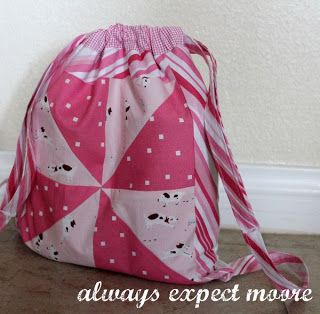 Drawstring Backpack Tutorial - Always Expect Moore