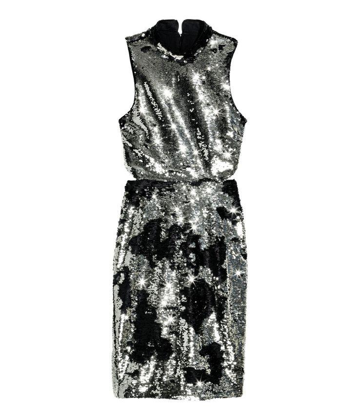 Paillettenkleid   Silberfarben/Schwarz   Damen   H&M DE