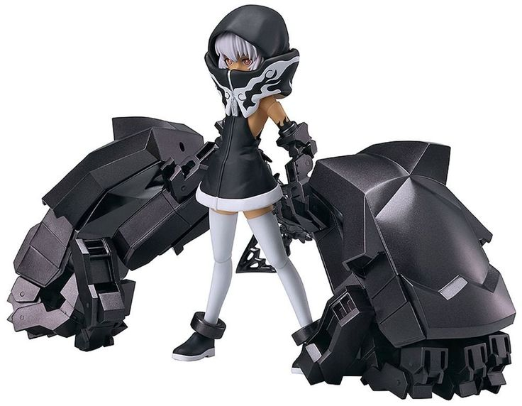Black Rock Shooter Strength Strength comes in standard large size packaging and comes with all the bells and whistles. Strength comes with her hood dressed in all black, multiple hands (be careful when you handle them) and a slightly articulate spine like tail that can spin in 3 different places. She comes with her  ogre arms , very massive , and they comes in many many pieces for the fingers. Her joints are very flexible.