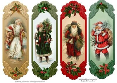4 traditional Santa Toppers Bookmarks on Craftsuprint designed by Anne Lever - This sheet contains 4 christmas santa designs which can be used as topper or as bookmarks.  - Now available for download!