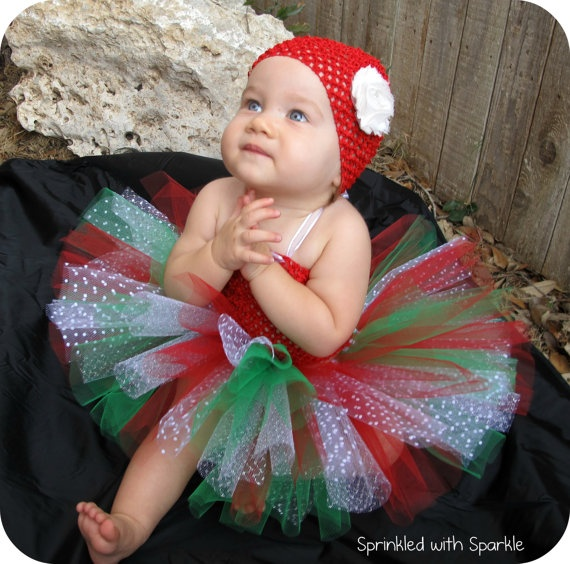 Christmas Tutu  Red White Green Silver by SprinkledWithSparkle, $22.00