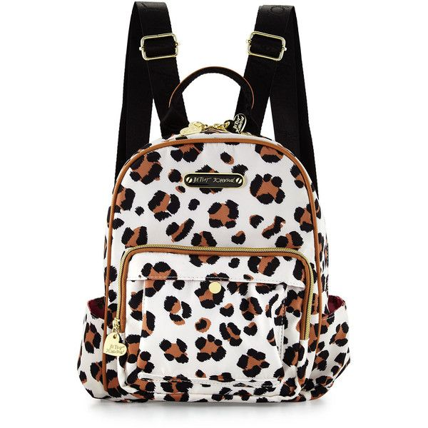 Betsey Johnson Tgif Leopard-Print Medium Backpack ($42) ❤ liked on Polyvore featuring bags, backpacks, backpack, natural, nylon bag, nylon zip bag, pocket bag, leopard backpack and white bags