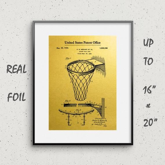 Birthday gift for men for Basketball Lover Gift for boyfriend for husband or father Basketball net Gold Foil Patent Prints Wall Art 03033