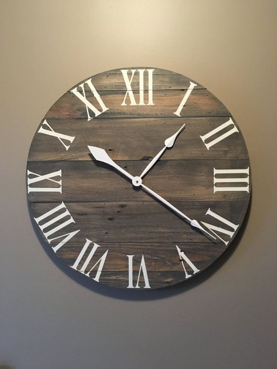 Large Gray Rustic Wood Clock  Pallet Clock  by OnTimeHome on Etsy