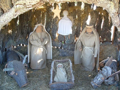 Nativity scene made with recycled materials
