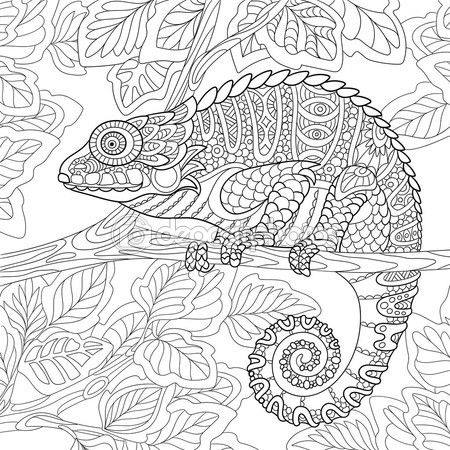 Zentangle Chameleon Sitting On A Tree Branch Coloring Page