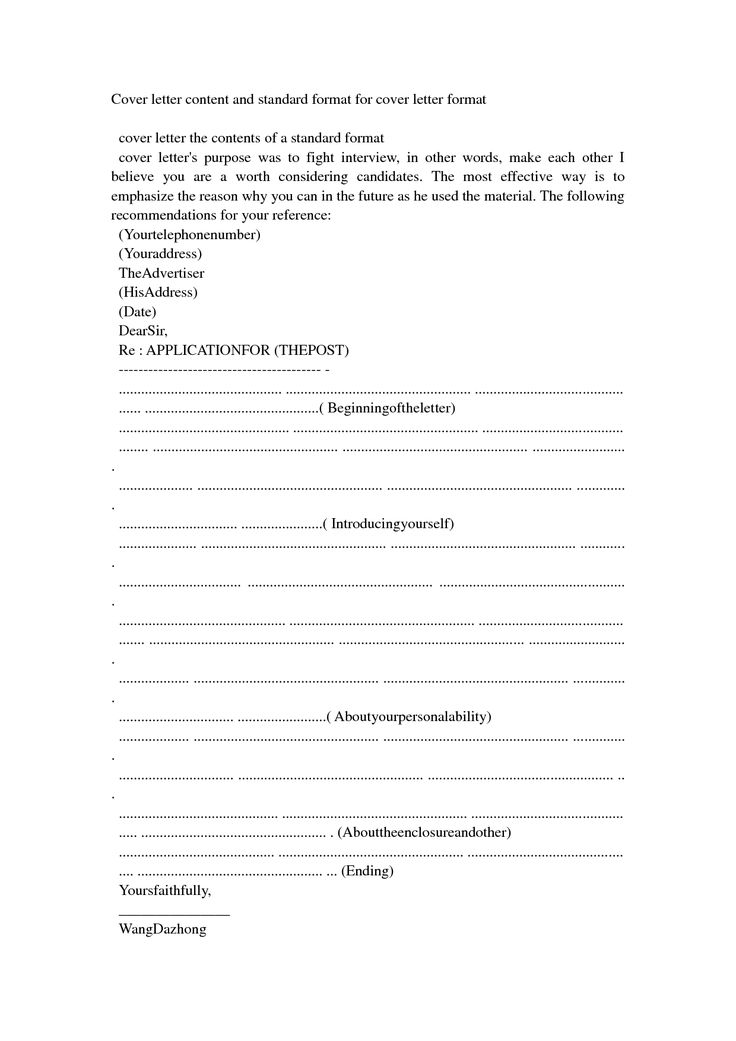 standard cover letter format example best resumes for sample