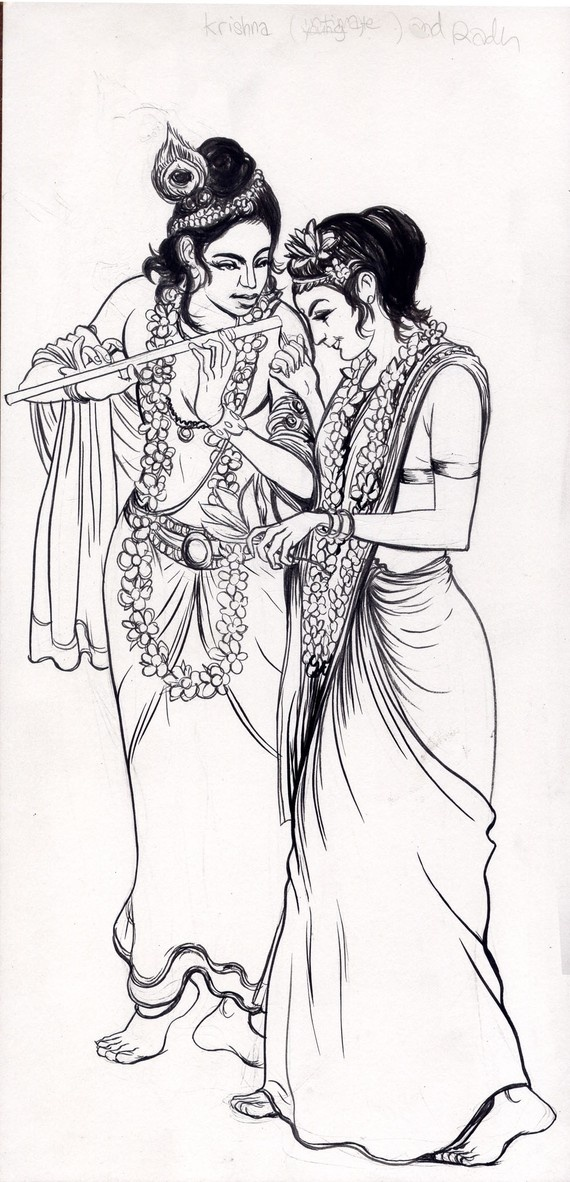 krishna and radha drawing plus free book by farel on Etsy, $10.00