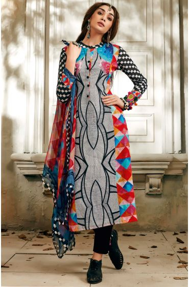 Multi-coloured & Black Un-stitched Cotton Digital Printed Salwar Suit with Georgette Dupatta - SUM09