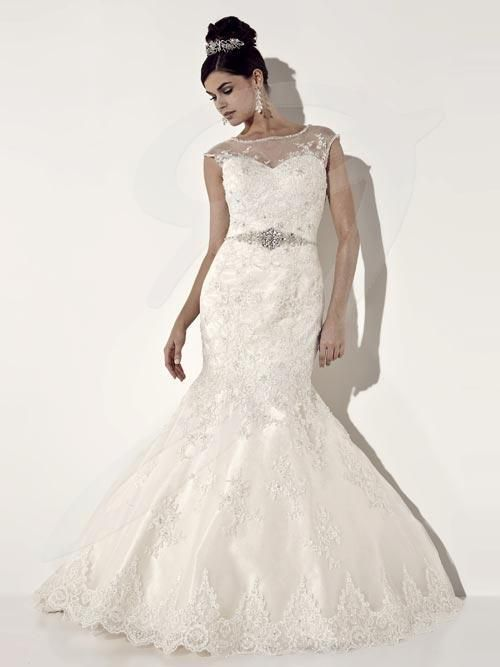 Jacquelin Bridals Canada - 19934 - Wedding Gown - Lace mermaid gown with high, sheer neckline and cap sleeves. Laceup back.