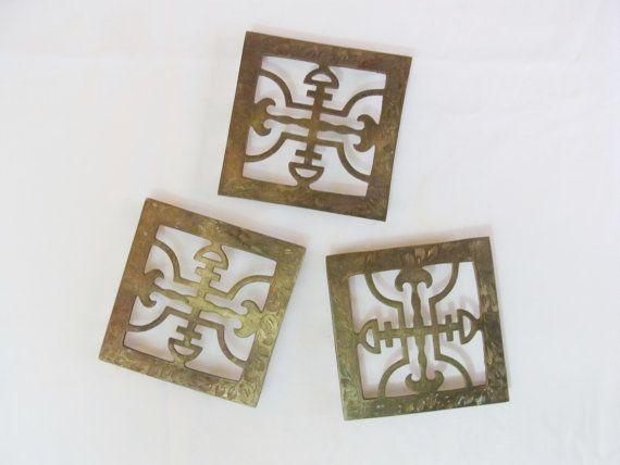 Vintage Brass Asian Trivets pattispolkadots