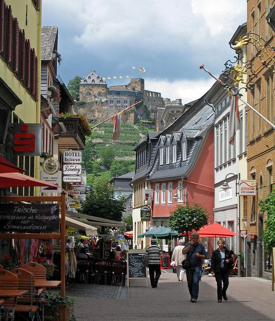 St. Goar, Germany - With Rheinfels Castle in the background.
