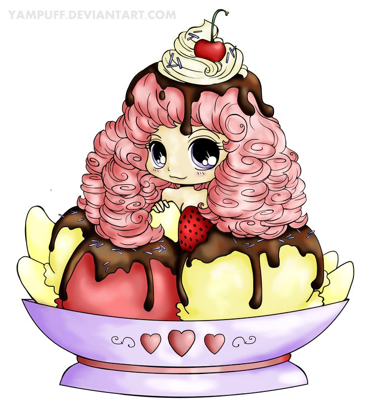 Colored Ice Cream Girl by YamPuff on deviant art. See more of YamPuffs adorable chibi art at http://yampuff.deviantart.com/