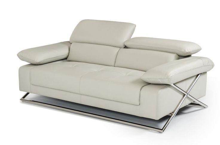 Divani Casa S9123 Modern Light Grey Leather Sofa Set - Stylish Design Furniture