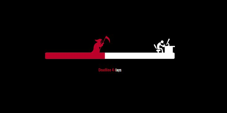 A hilarious progress bar animation by Jonathan Silva. The progress bar has a person sitting on a chair working away at a desk with a countdown of 7 days, then you see the grim reaper carrying a large scythe entering from the left and as the number of days grows shorter, the speed at which …