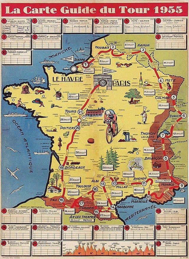 La carte guide du Tour de France - 1955 - (Brochard) - | Tour de France Posters | Pinterest ...