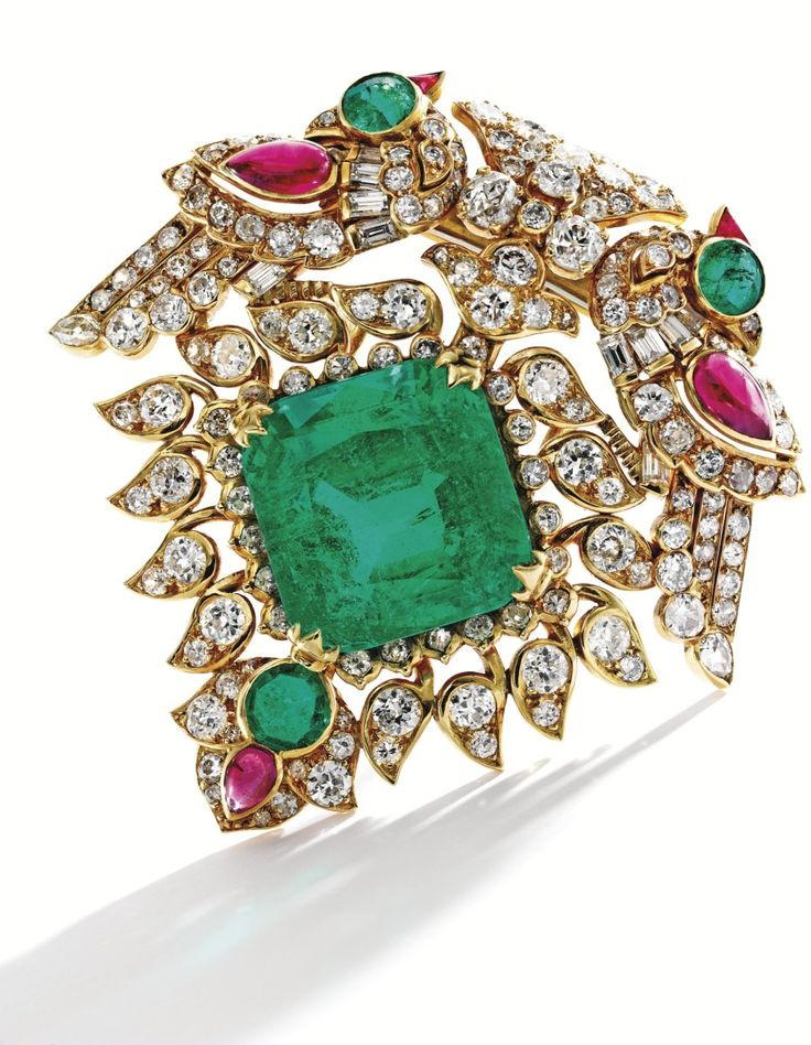 GOLD, EMERALD, DIAMOND AND RUBY BROOCH