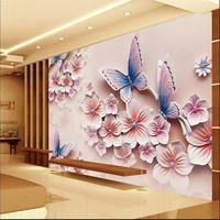 3D foto wallpaper murales de Socorro TV telón de fondo romántico de flores de mariposa orquídea 3D gran mural de la pared papel pintado pintura Moderna