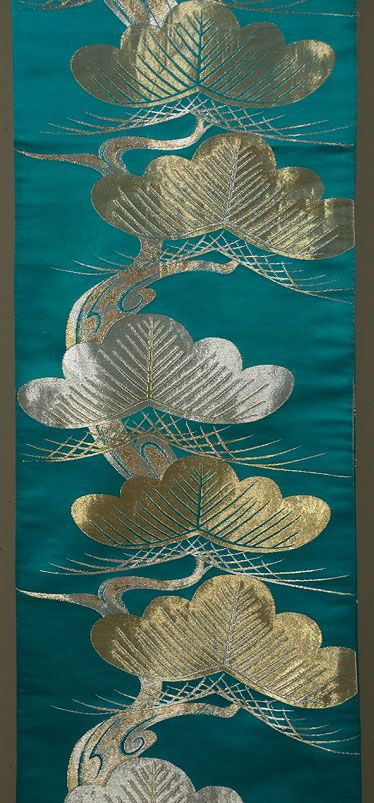 Japanese Maru Obi, silver and gold brocading on silk satin, 1950s