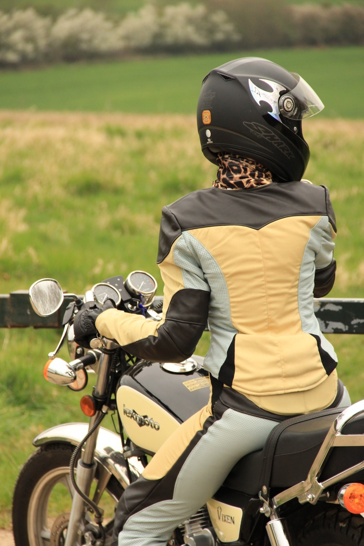 Female motorcycle clothing, textile and leather