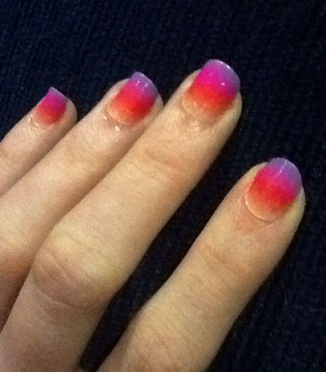 My attempt at painting a gradient in nail polish