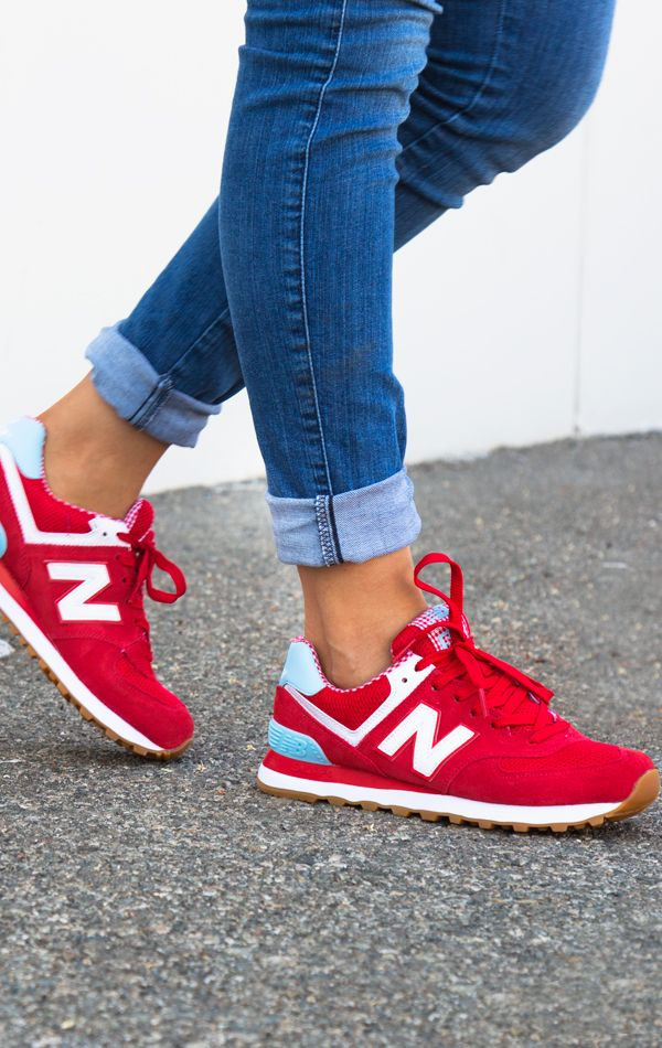 red new balance shoes 574 for women