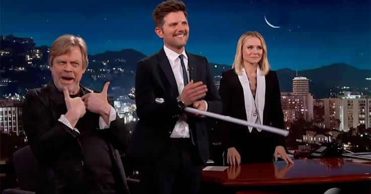 Mark Hamill surprised the actor Adam Scott, a longtime 'Star Wars' fan, on 'Jimmy Kimmel Live!' in honor of National Star Wars Day.