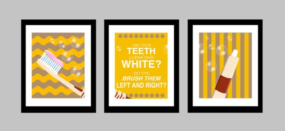 """Here we have a set of three original 8 x 10 glossy prints featuring the quote """"Are your teeth clean and white. Do you brush them left and right?"""" Adds a modern pop of colour to the bathroom in any household with children! Everyone needs a friendly reminder once in a while, right?! ;)"""