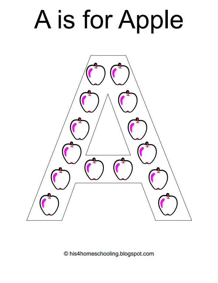 A is for apple letter craft: Free printable.   Dot markers ...